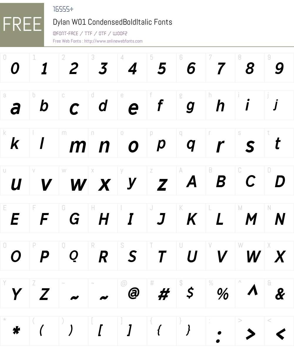 DylanW01-CondensedBoldIt Font Screenshots