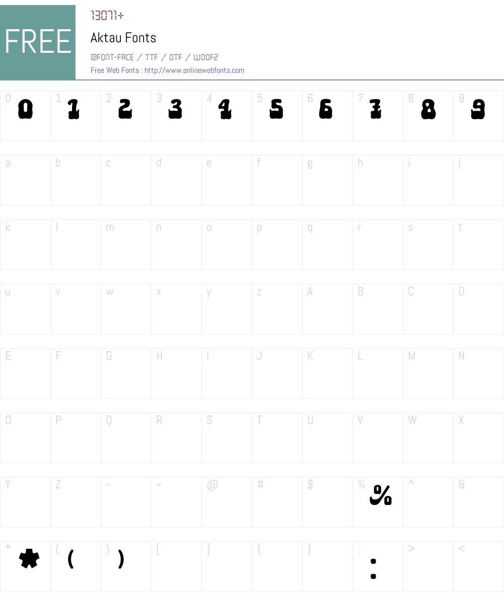 Aktau Font Screenshots