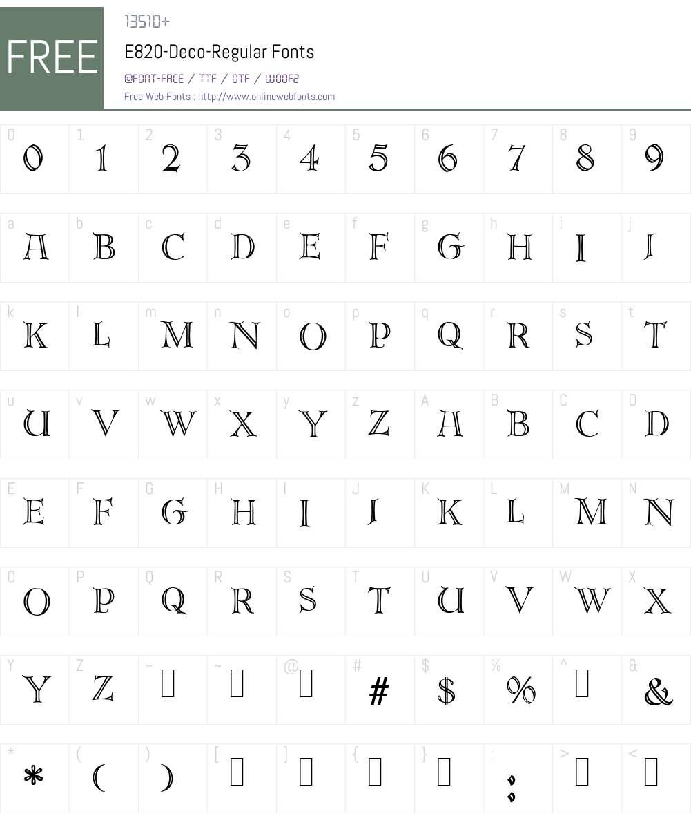 E820-Deco Font Screenshots