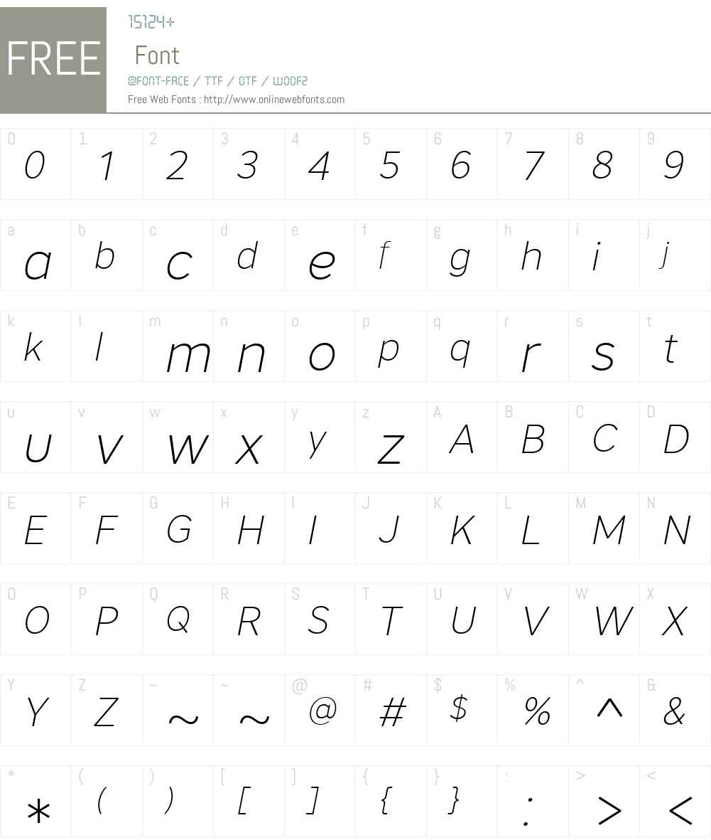 CoreSansA25ExtraLightW-It Font Screenshots