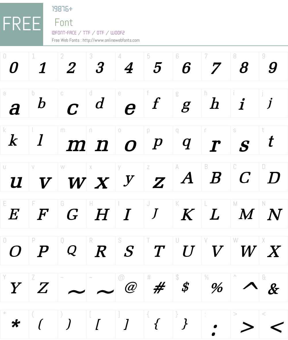 Bid Roman Font Screenshots