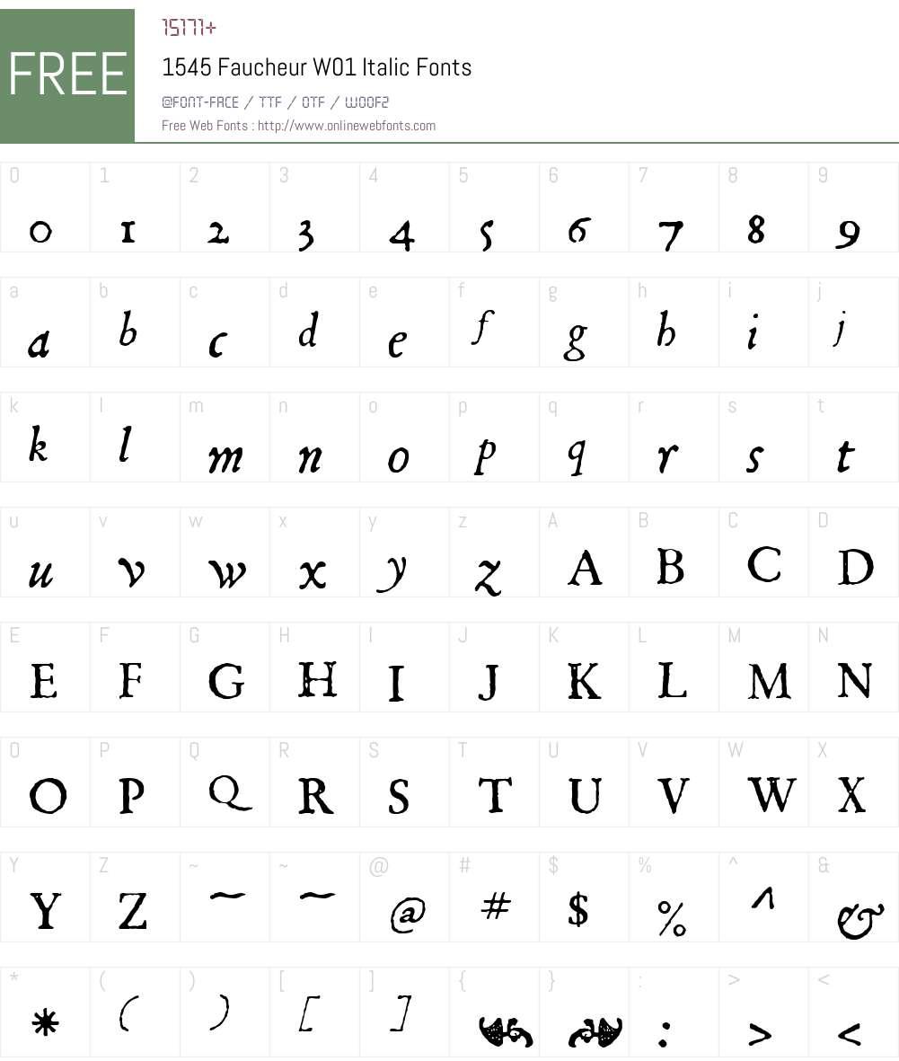1545FaucheurW01-Italic Font Screenshots