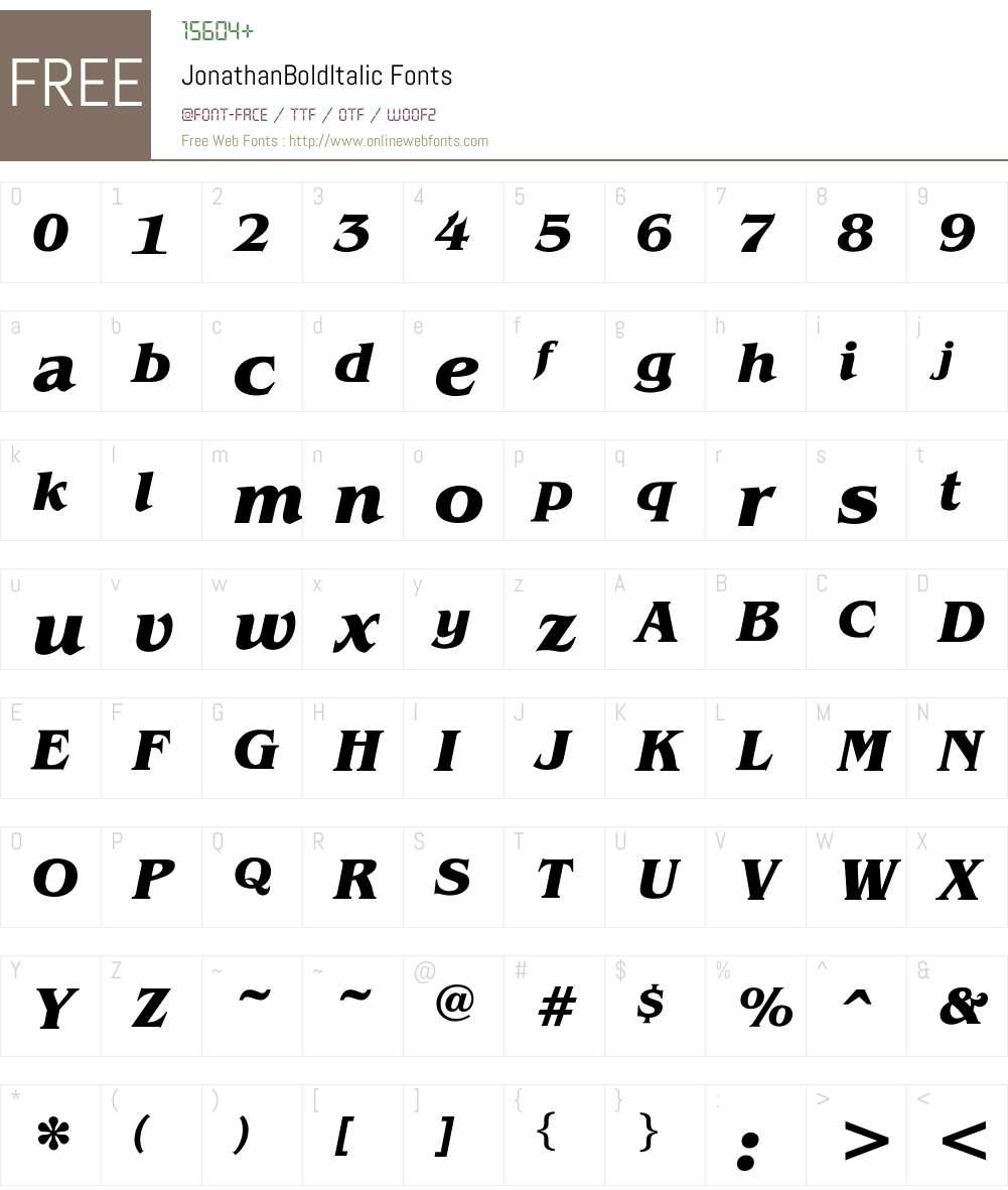 JonathanBoldItalic Font Screenshots