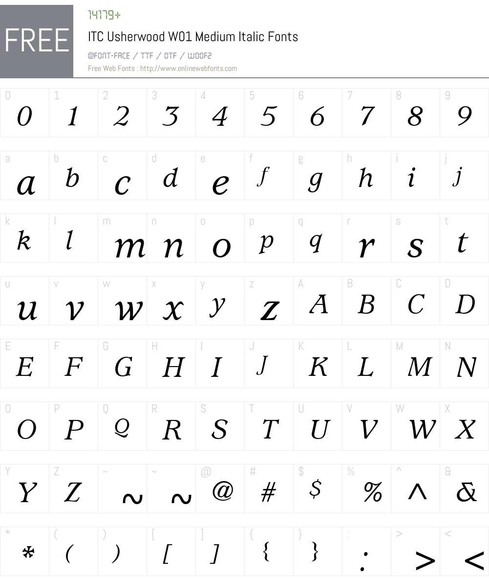 ITCUsherwoodW01-MediumIt Font Screenshots