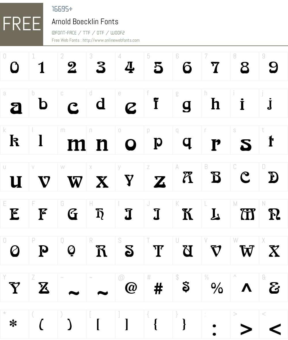 Arnold Boecklin Font Screenshots