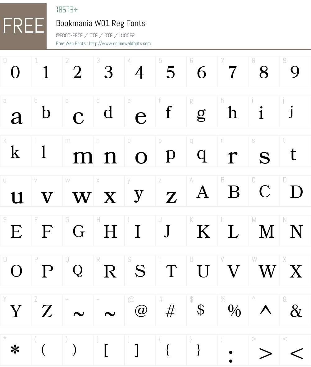 BookmaniaW01-Reg Font Screenshots
