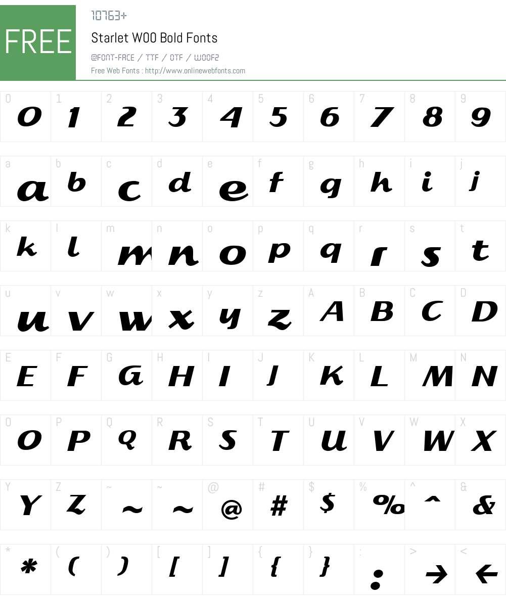 Starlet Font Screenshots