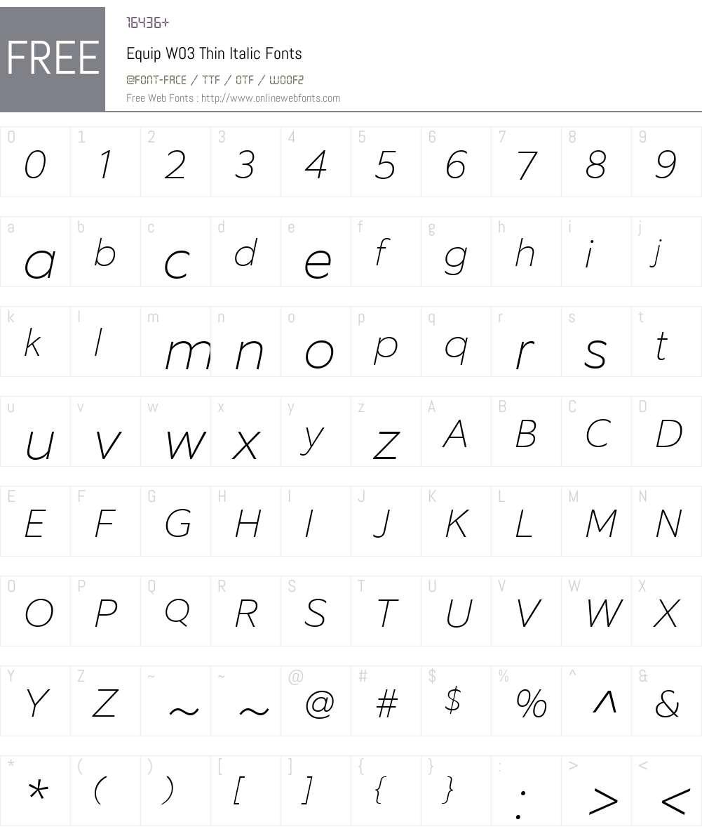 EquipW03-ThinItalic Font Screenshots