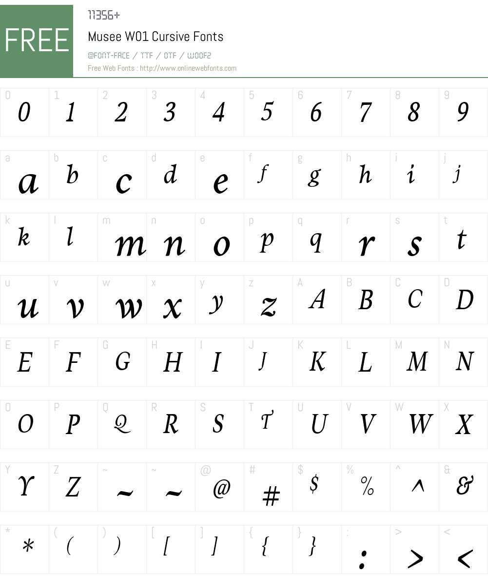 MuseeW01-Cursive Font Screenshots