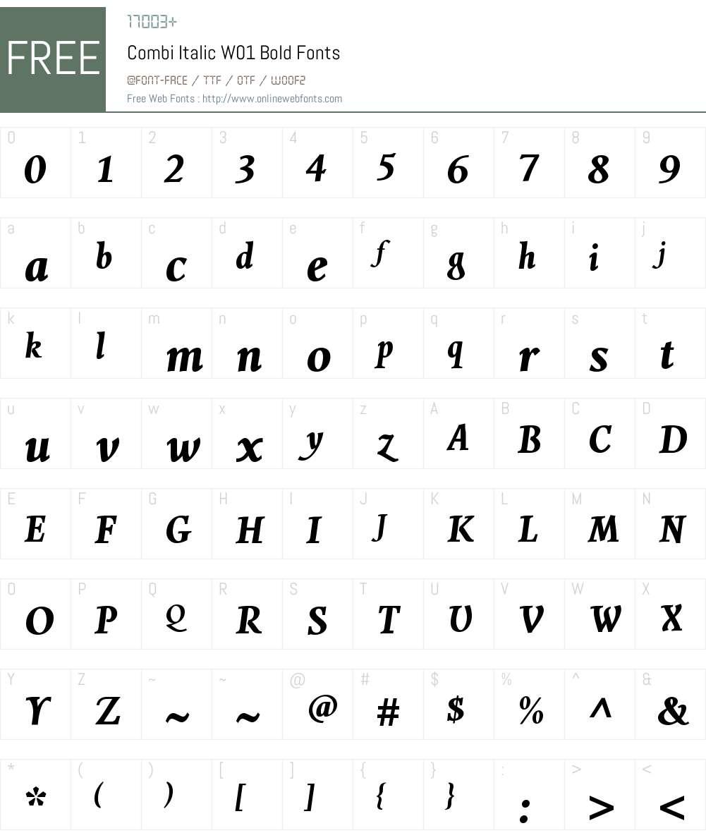 CombiItalicW01-Bold Font Screenshots