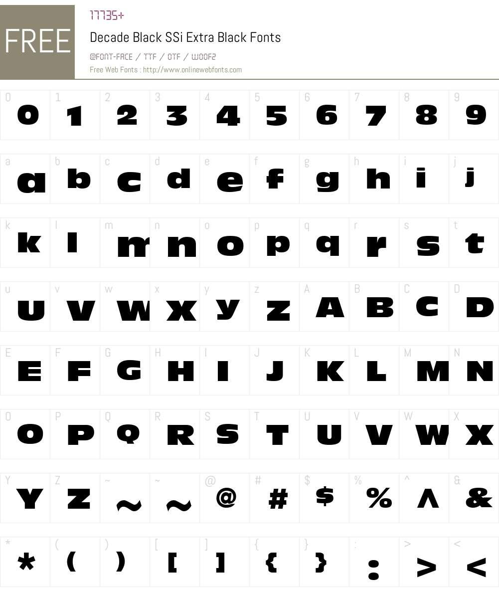 Decade Black SSi Font Screenshots