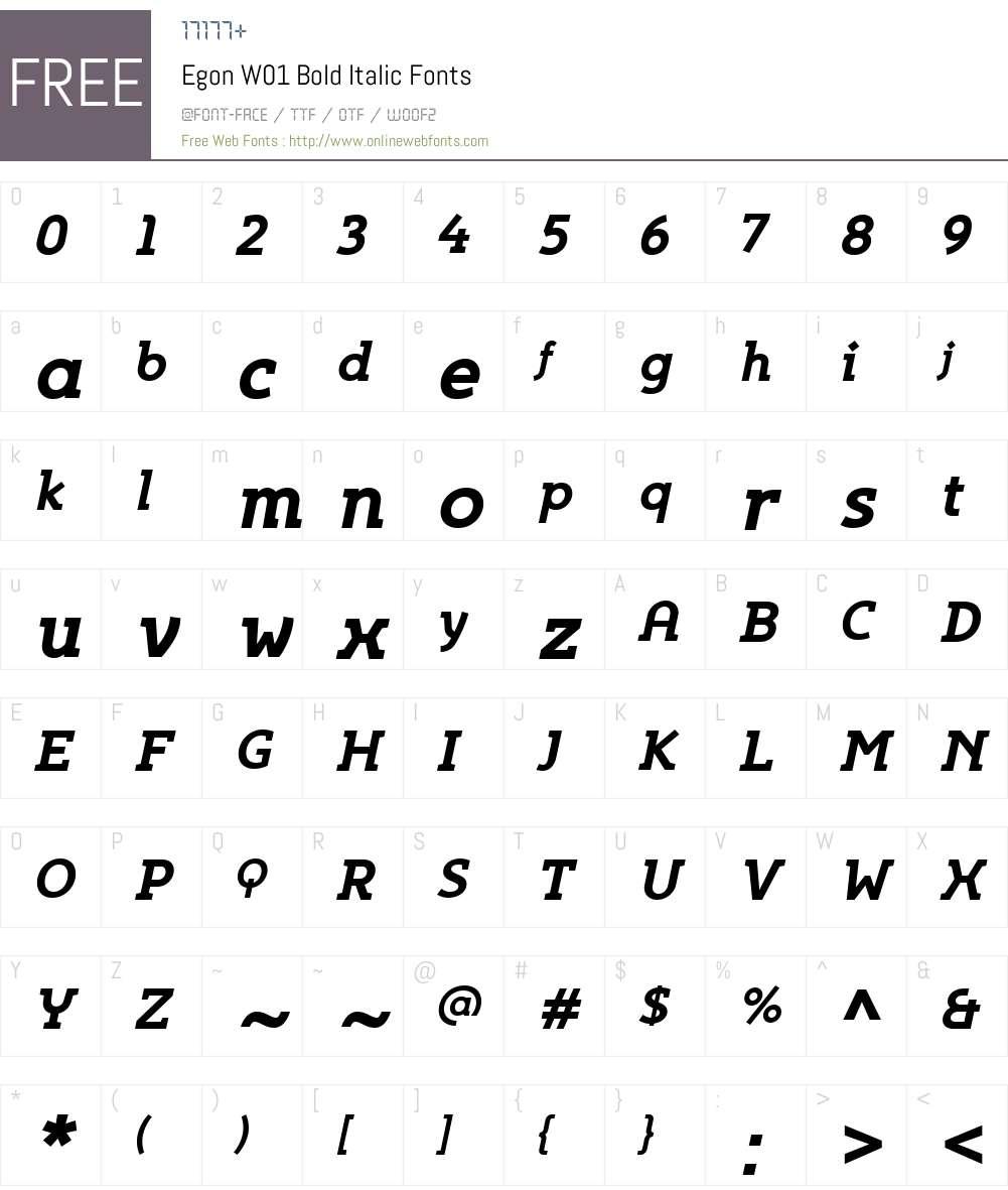 EgonW01-BoldItalic Font Screenshots