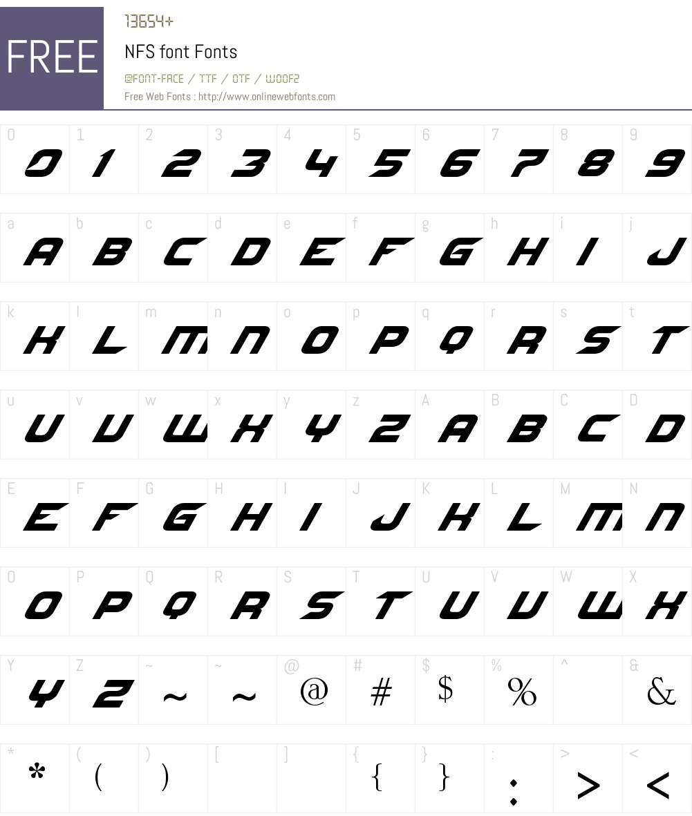 NFS font Font Screenshots