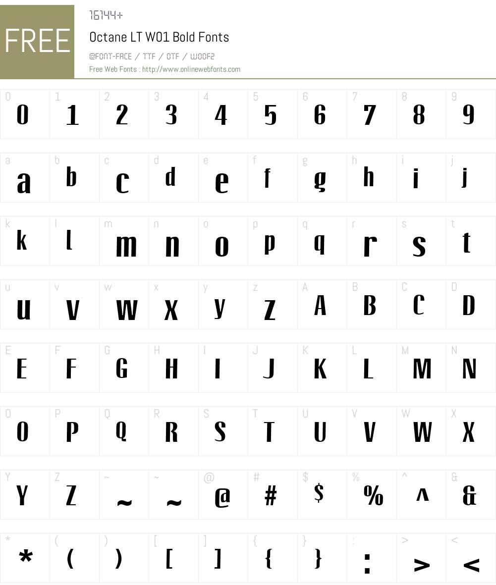 OctaneLTW01-Bold Font Screenshots