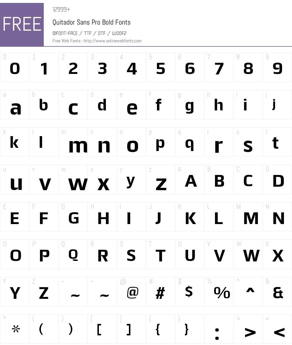 Quitador Sans Pro Font Screenshots