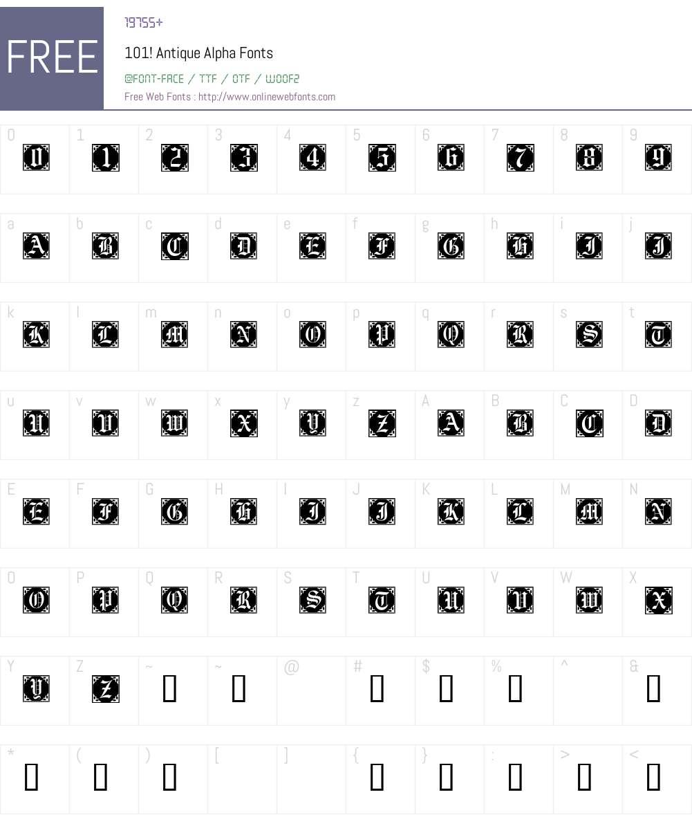 101! Antique Alpha Font Screenshots