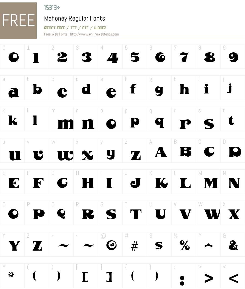 Mahoney Font Screenshots
