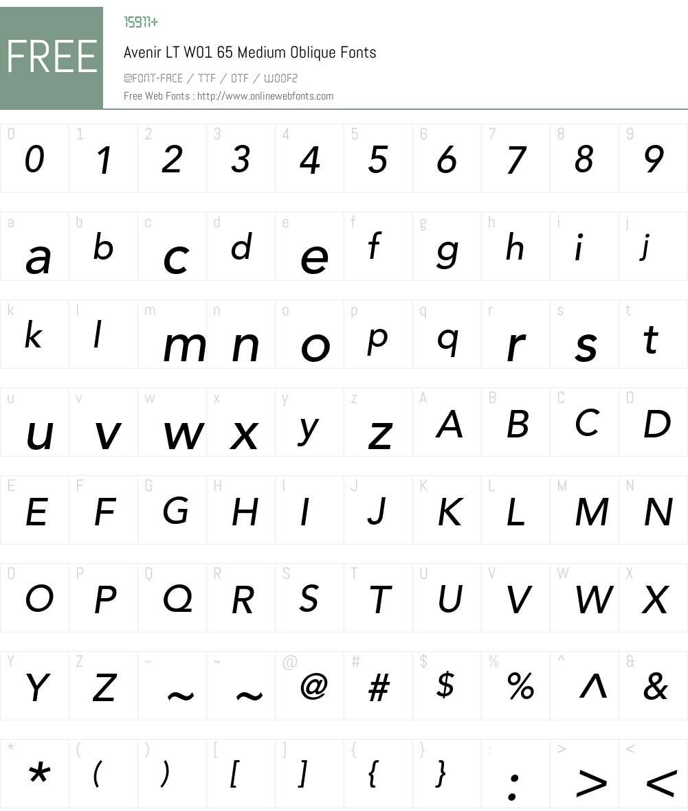 AvenirLTW01-65MediumOblique Font Screenshots