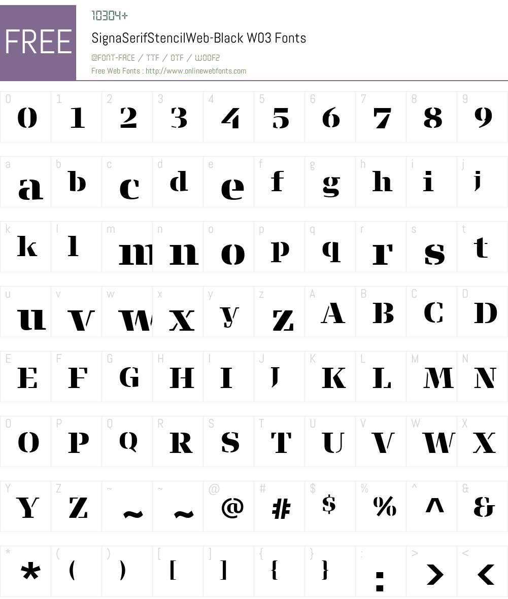 FF Signa Serif Stencil Font Screenshots