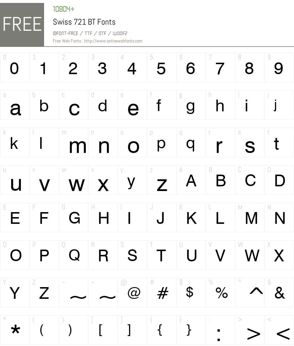 Swis721 BT Font Screenshots