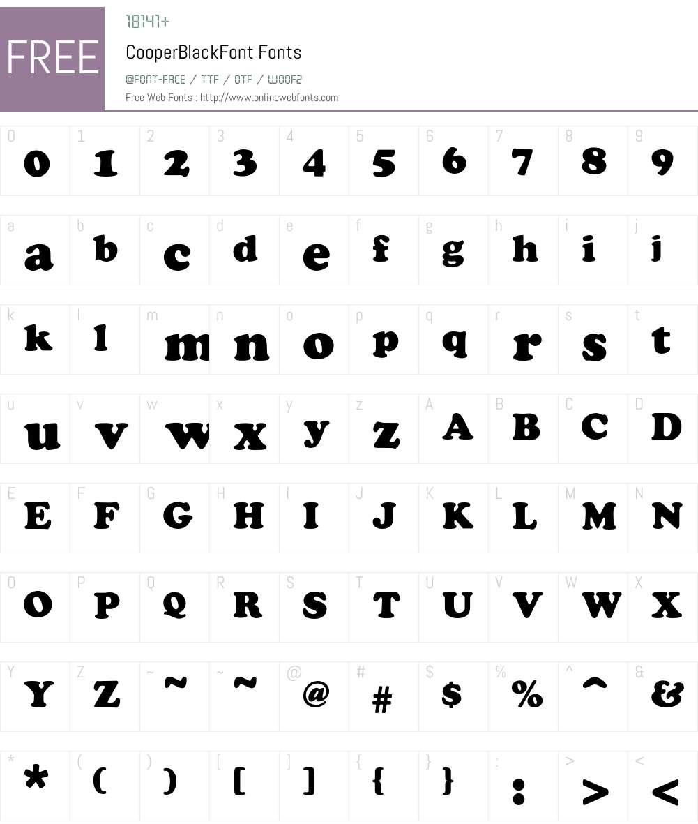 Cooper Font Screenshots