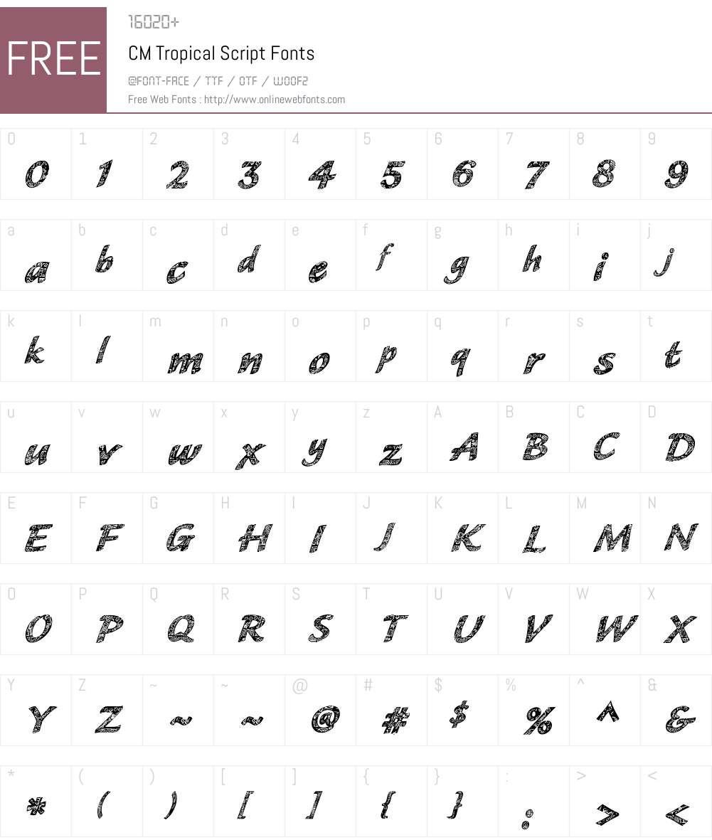 CM Tropical Script Font Screenshots