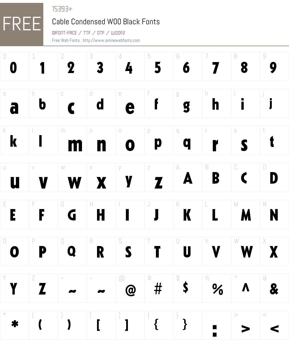 CableCondensedW00-Black Font Screenshots