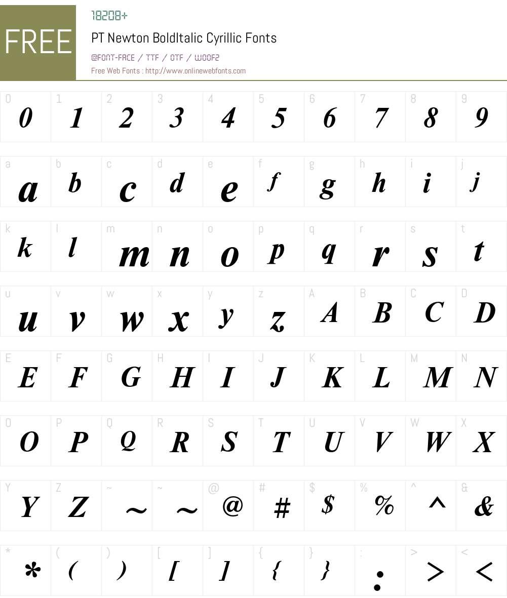 NewtonC Font Screenshots