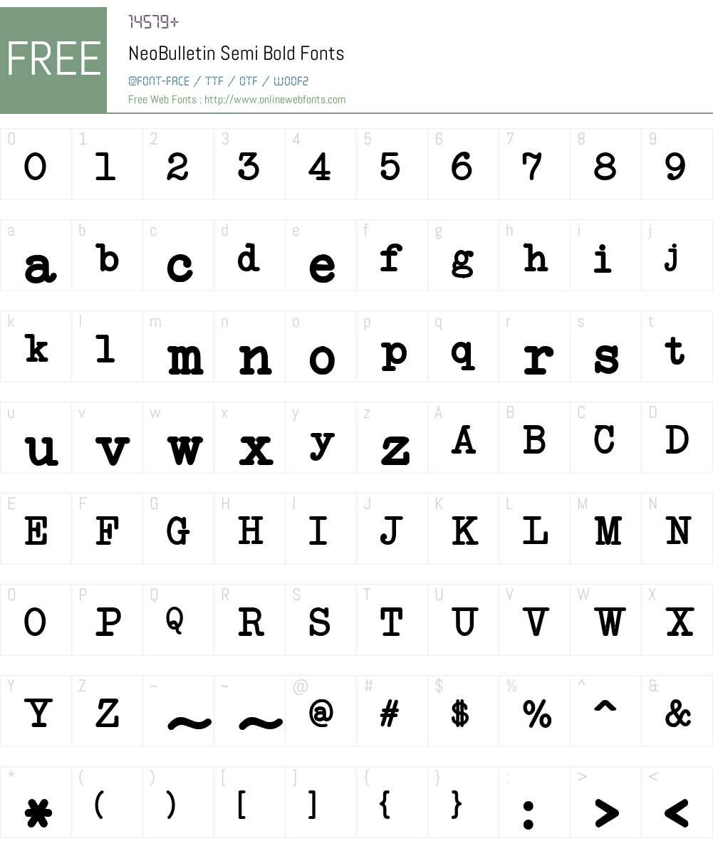 NeoBulletin Semi Bold Font Screenshots