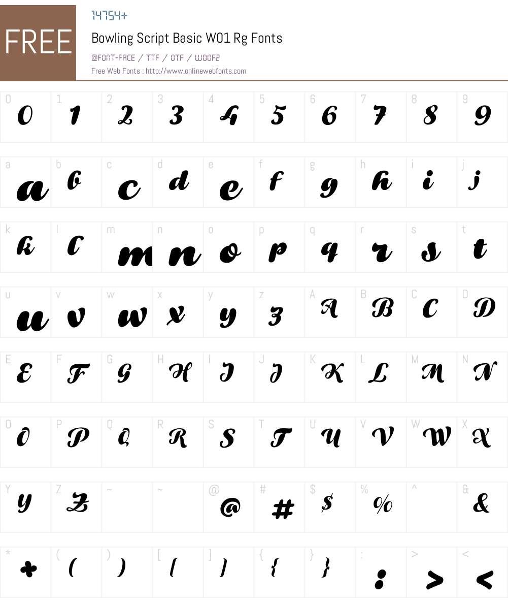 BowlingScriptBasicW01-Rg Font Screenshots