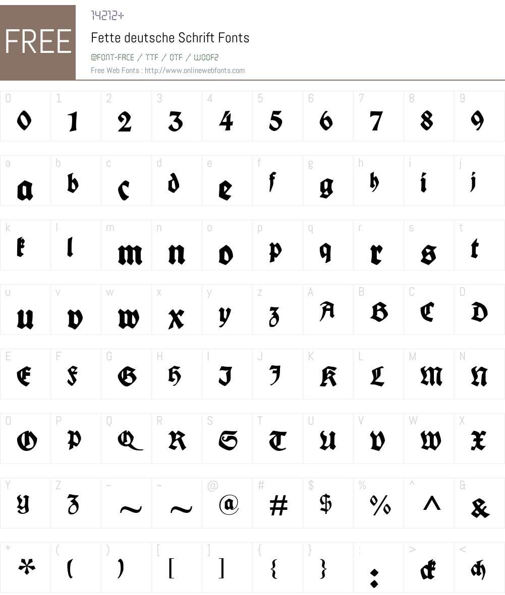 Fette deutsche Schrift Font Screenshots
