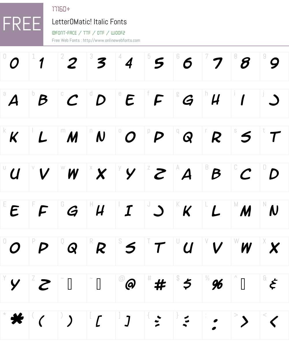 LetterOMatic! Font Screenshots