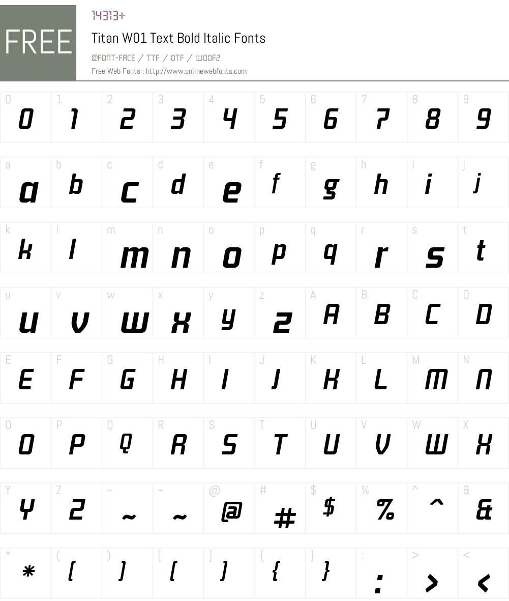 TitanW01-TextBoldItalic Font Screenshots