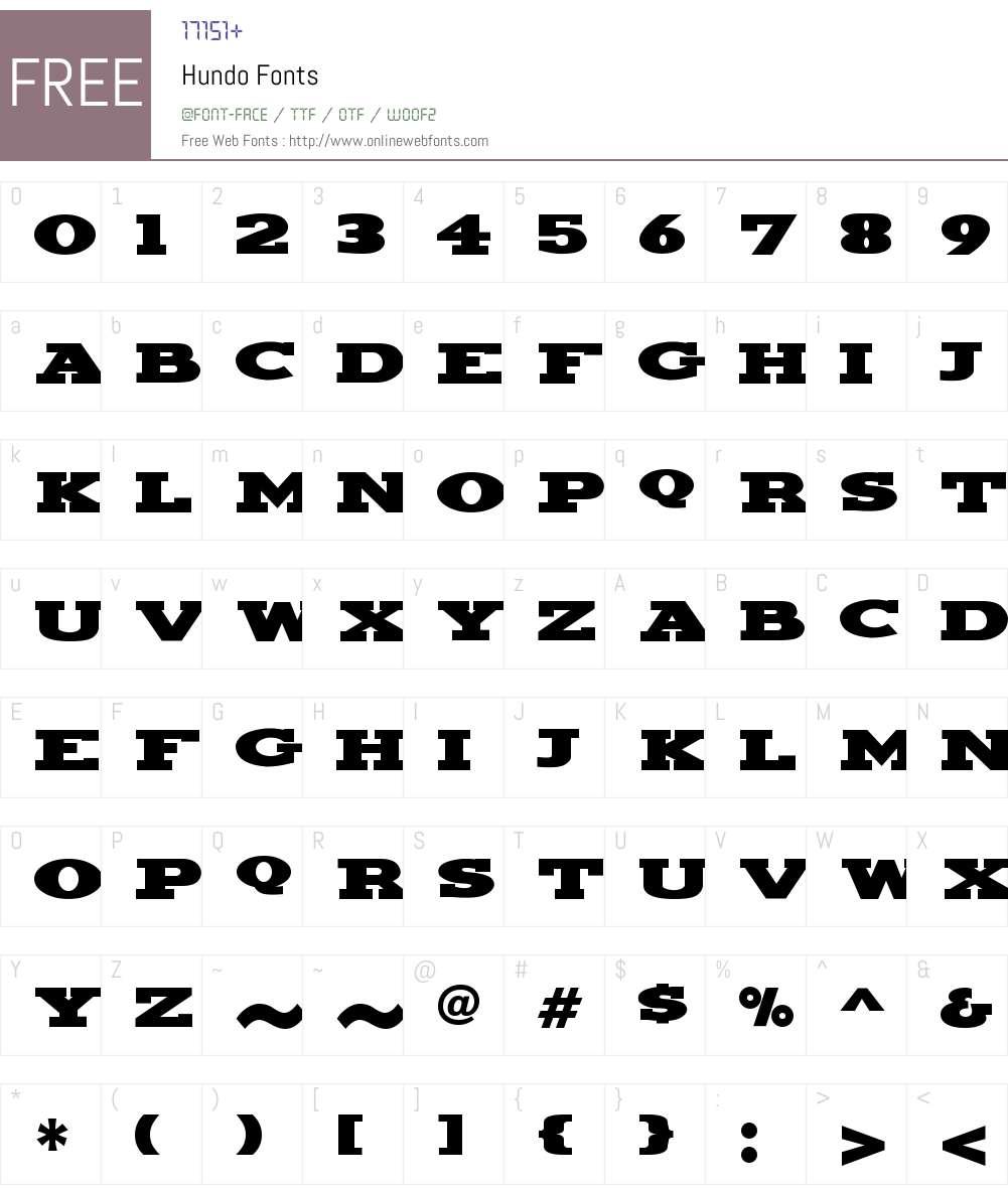 Hundo Font Screenshots