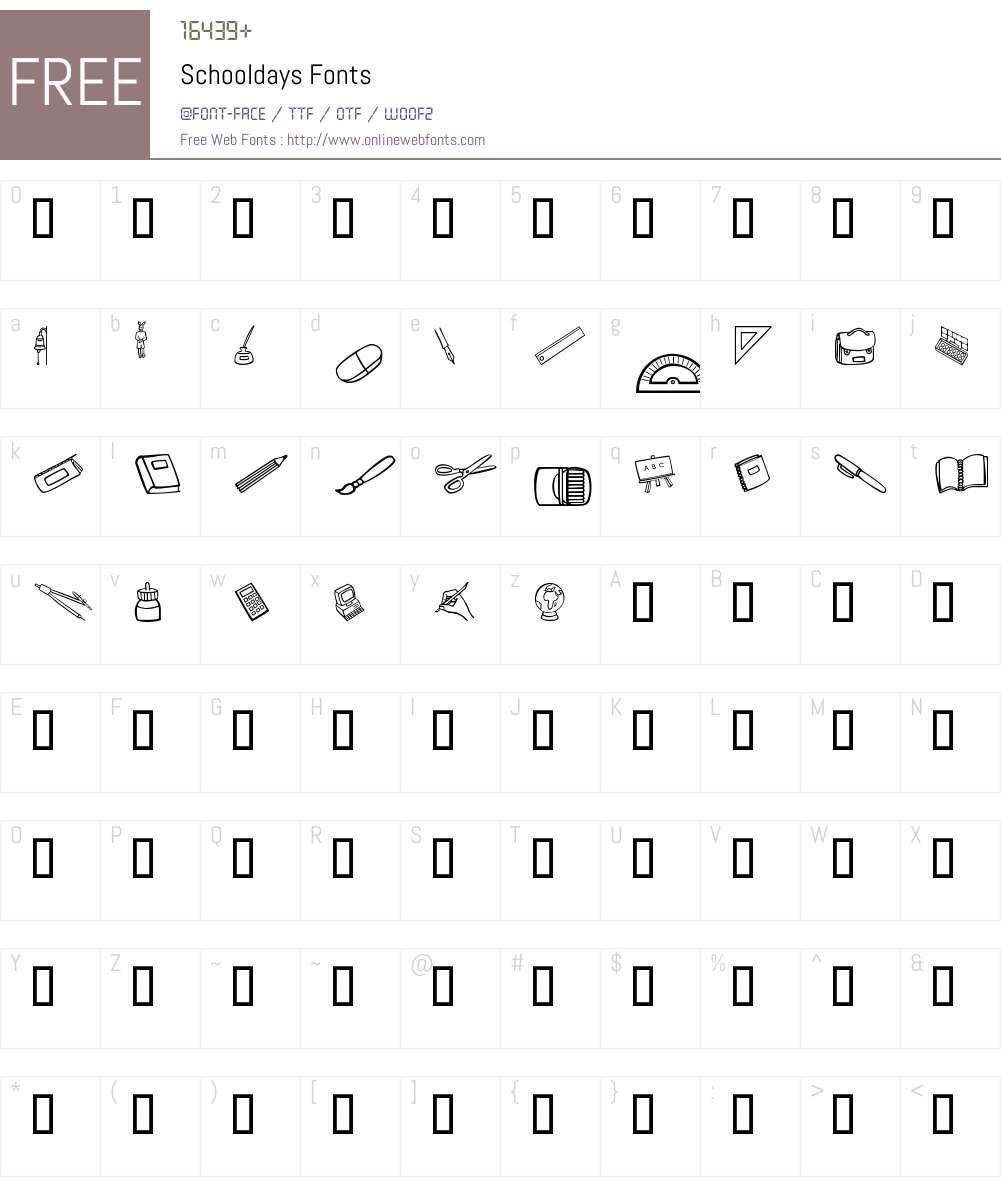 Schooldays Font Screenshots