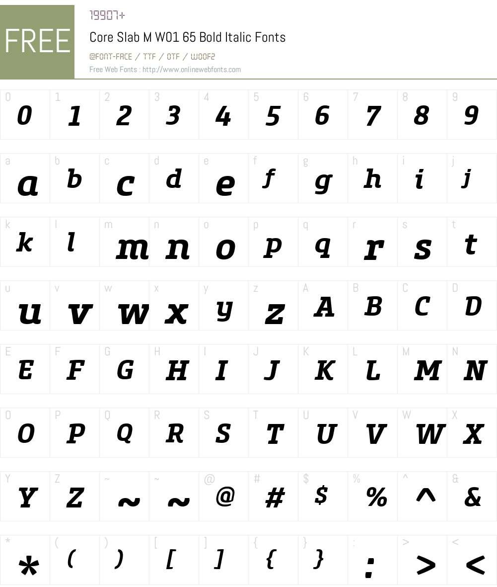 CoreSlabMW01-65BoldItalic Font Screenshots