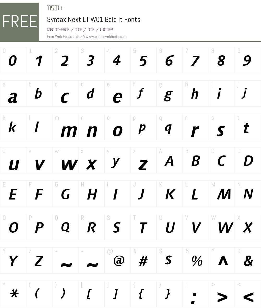 SyntaxNextLTW01-BoldIt Font Screenshots