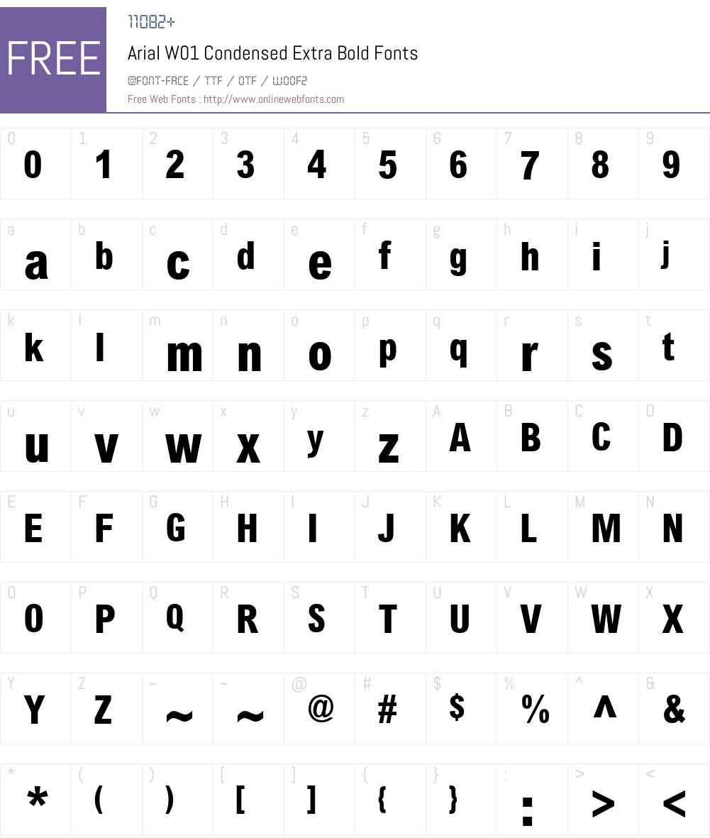 ArialW01-CondensedExtraBold Font Screenshots