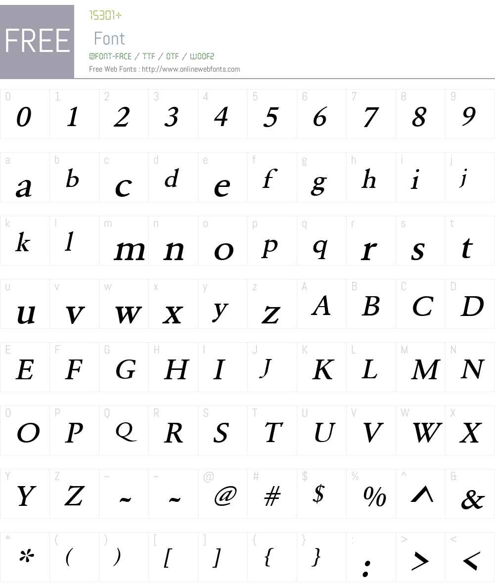 URWGaramondTMedWid Font Screenshots