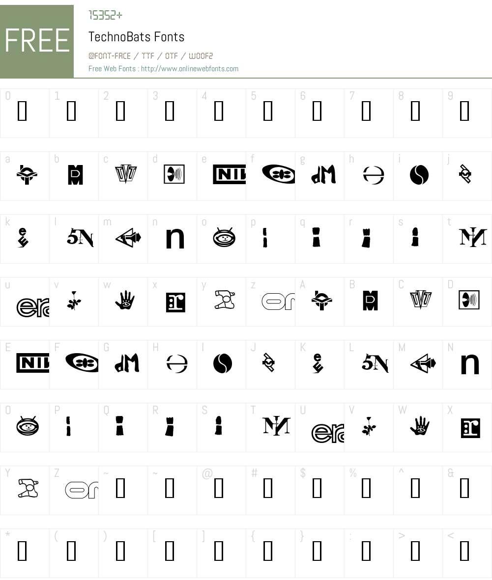 TechnoBats Font Screenshots