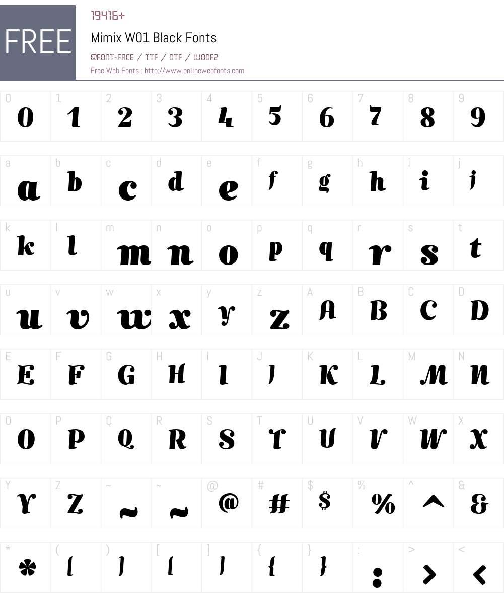 MimixW01-Black Font Screenshots
