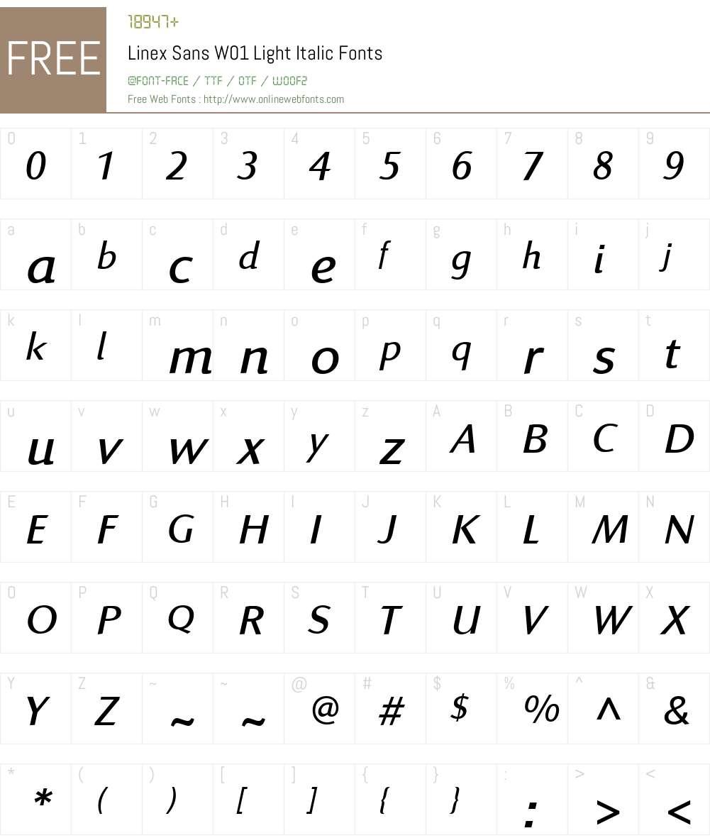 LinexSansW01-LightItalic Font Screenshots