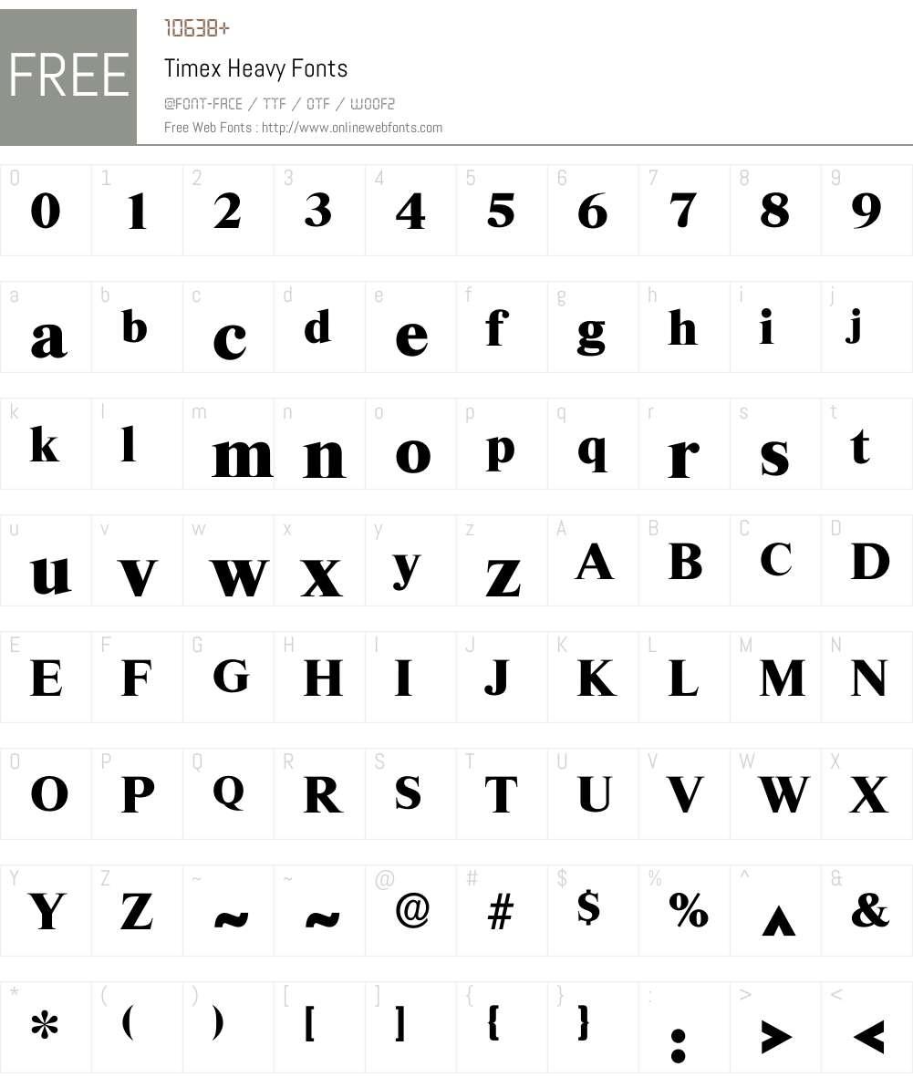 Timex Font Screenshots
