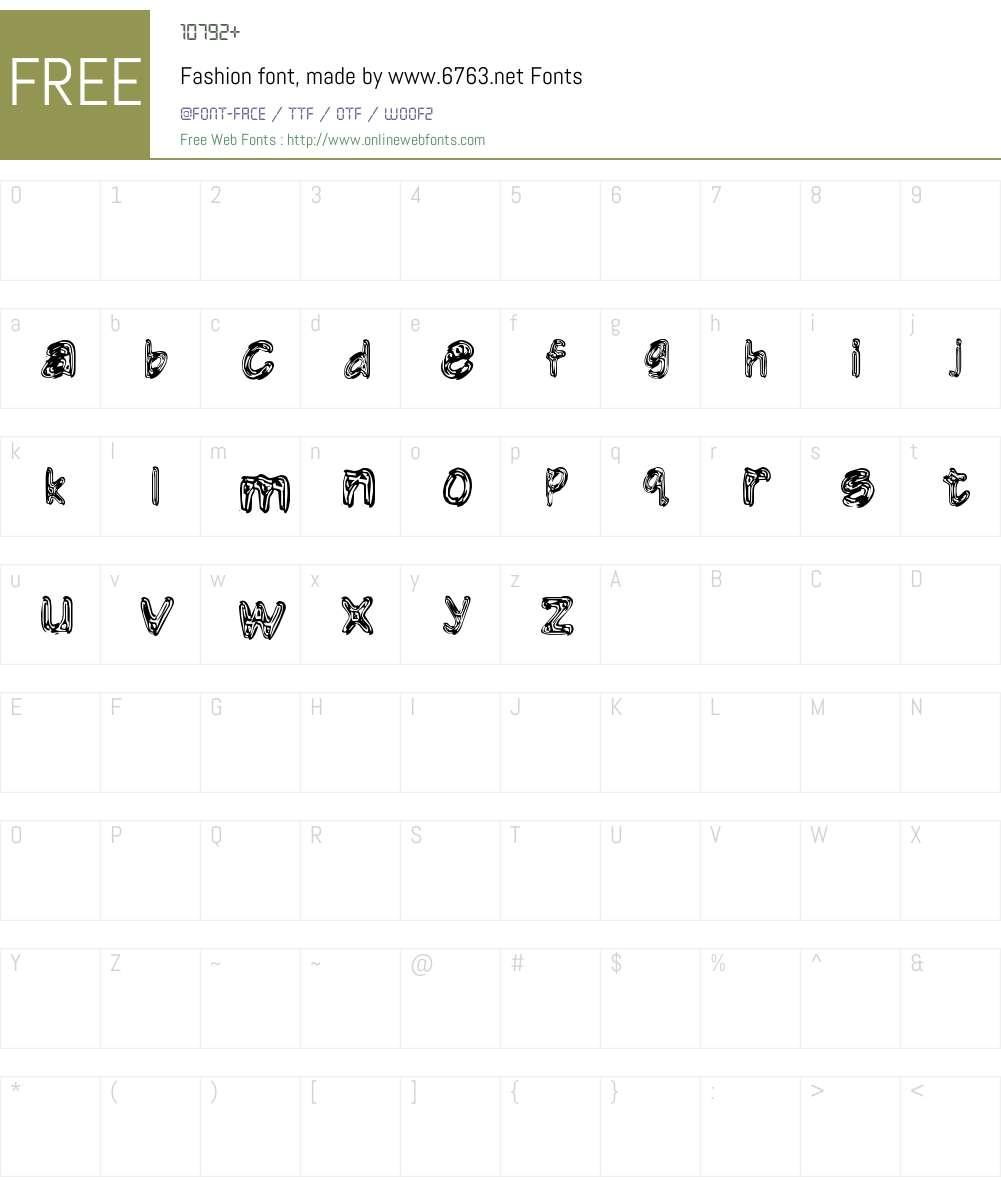 Fashion font, made by www.6763. Font Screenshots