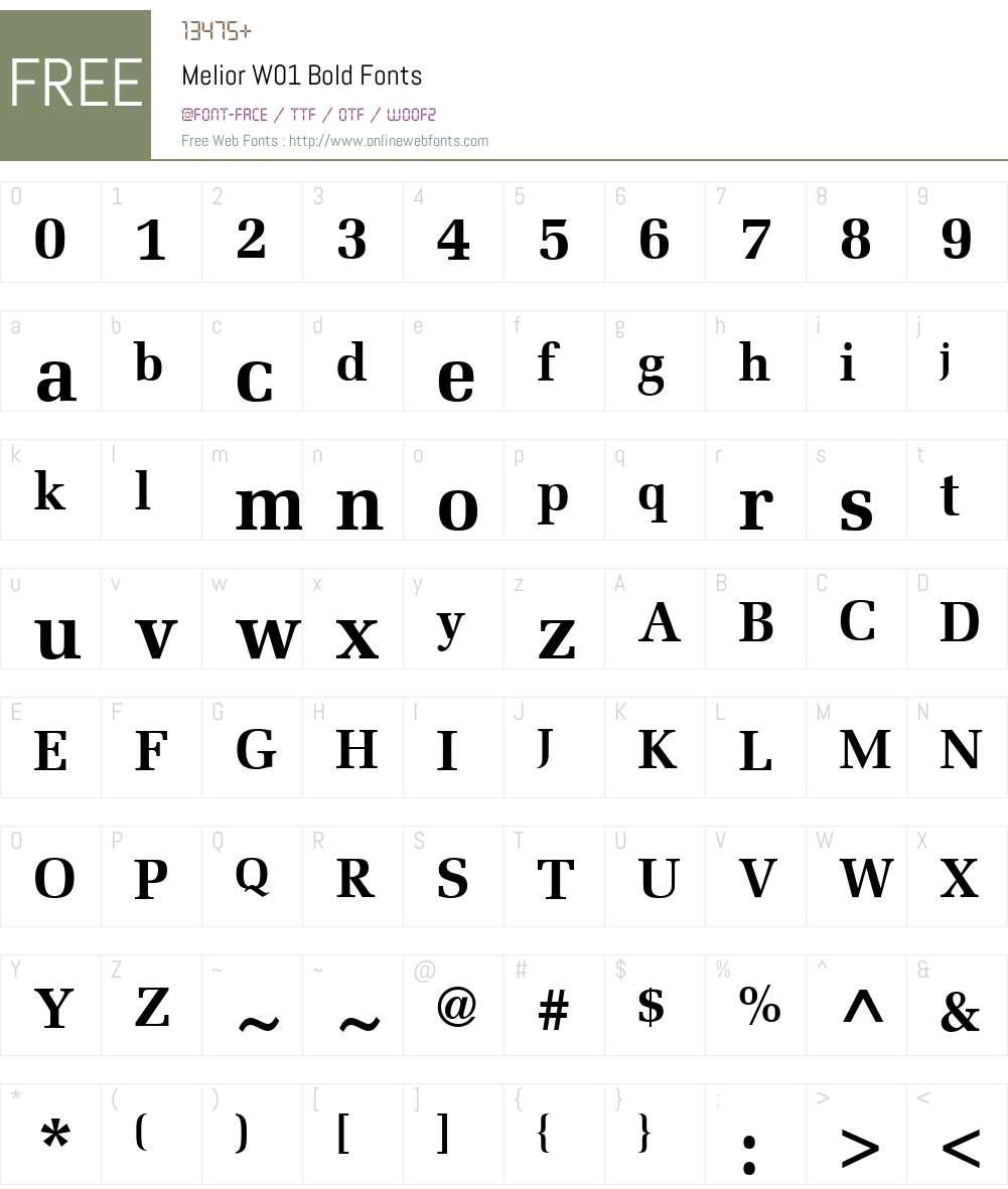 MeliorW01-Bold Font Screenshots