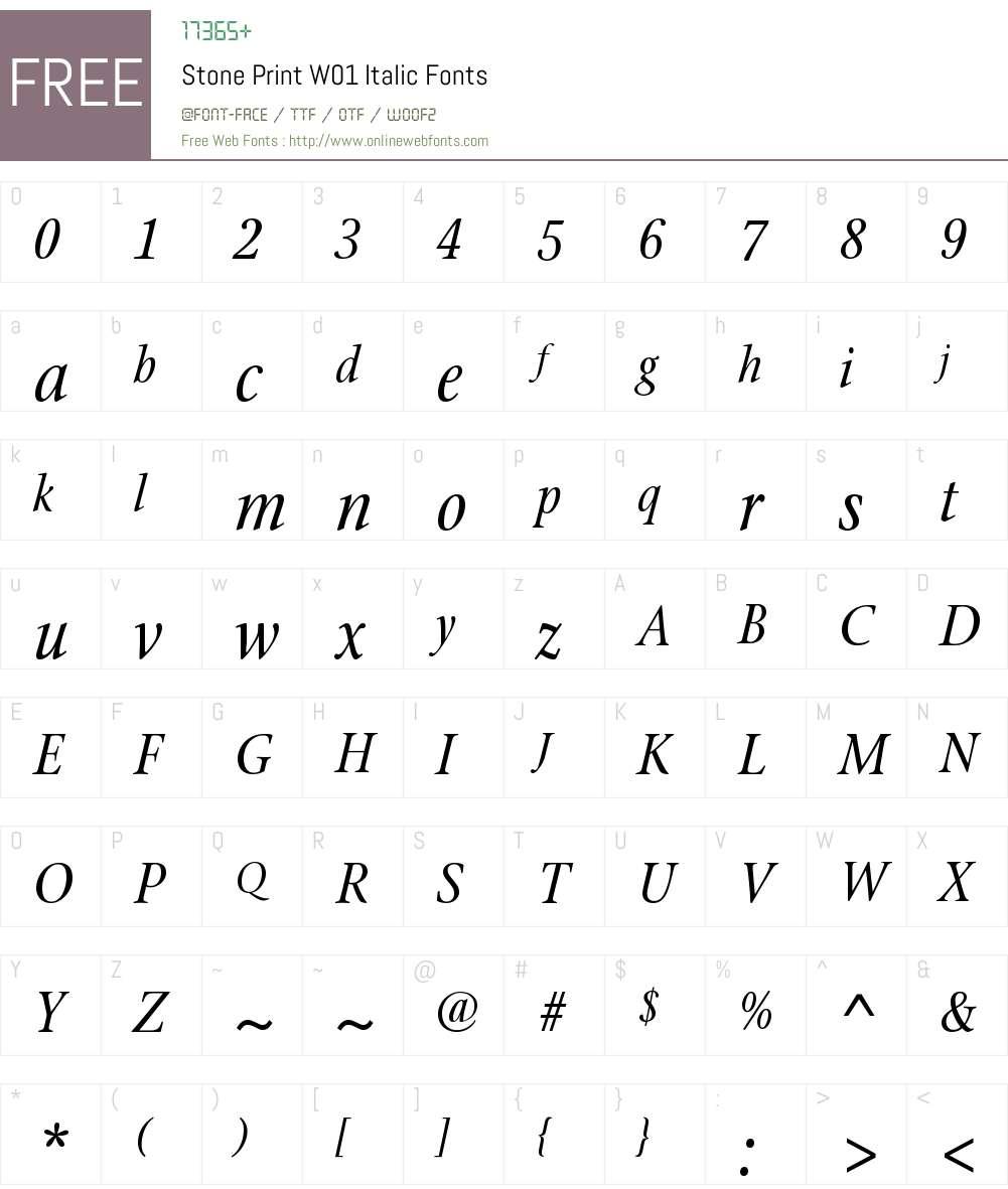 StonePrintW01-Italic Font Screenshots