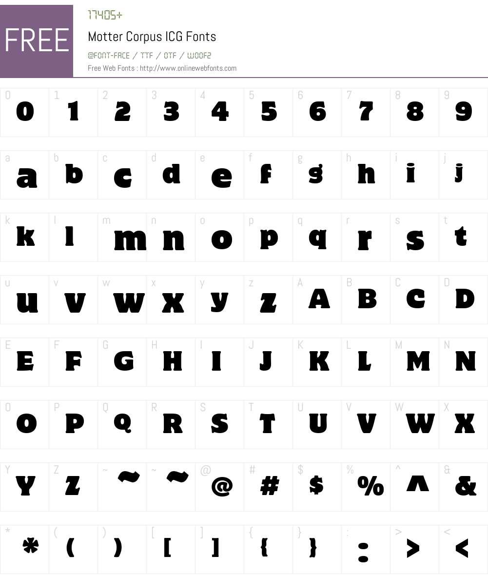 Motter Corpus ICG Font Screenshots