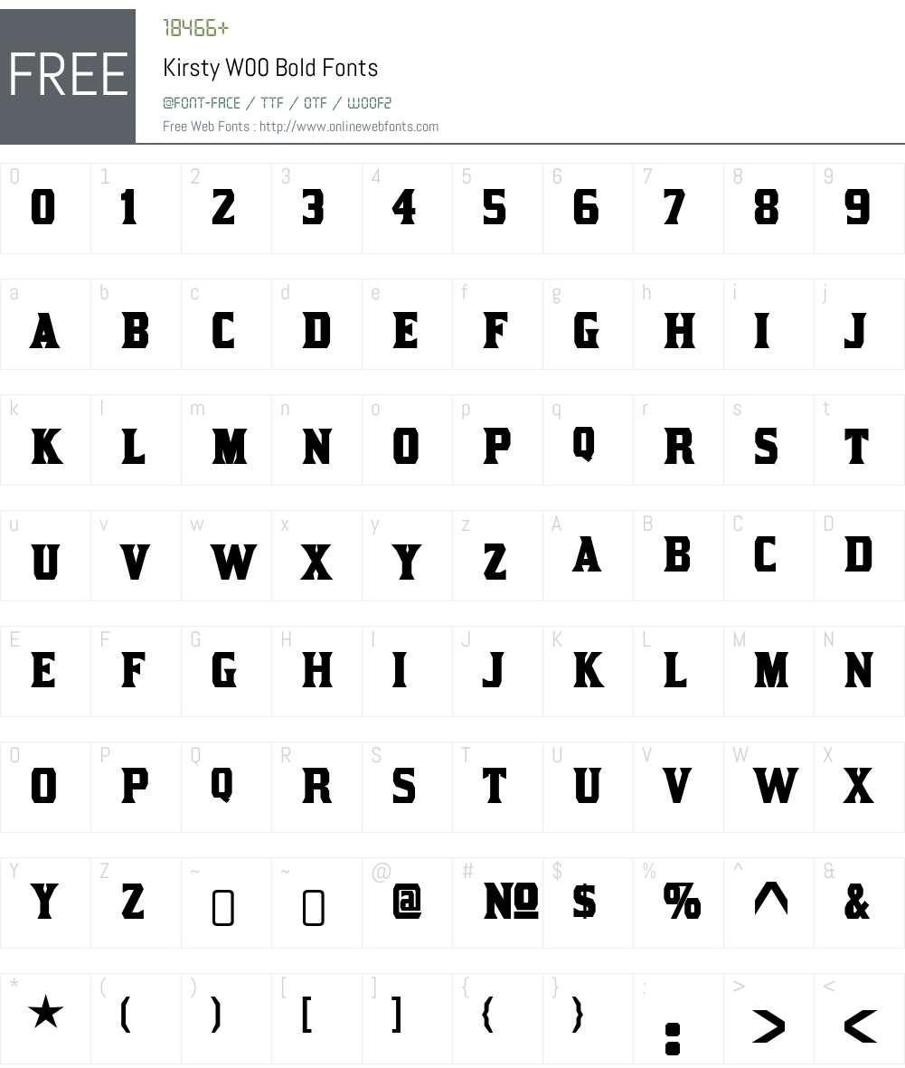 KirstyW00-Bold Font Screenshots