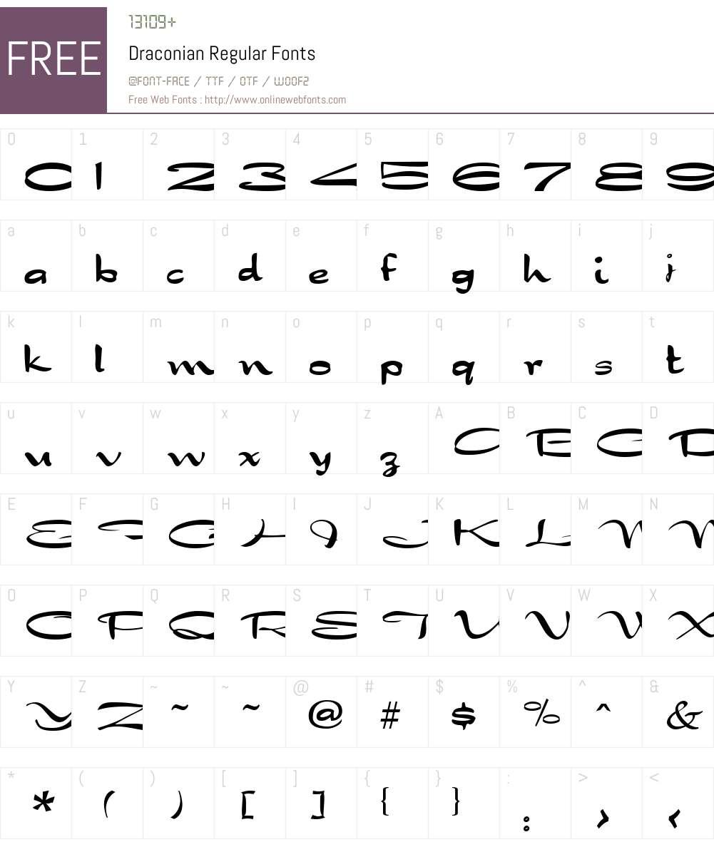 Draconian Font Screenshots