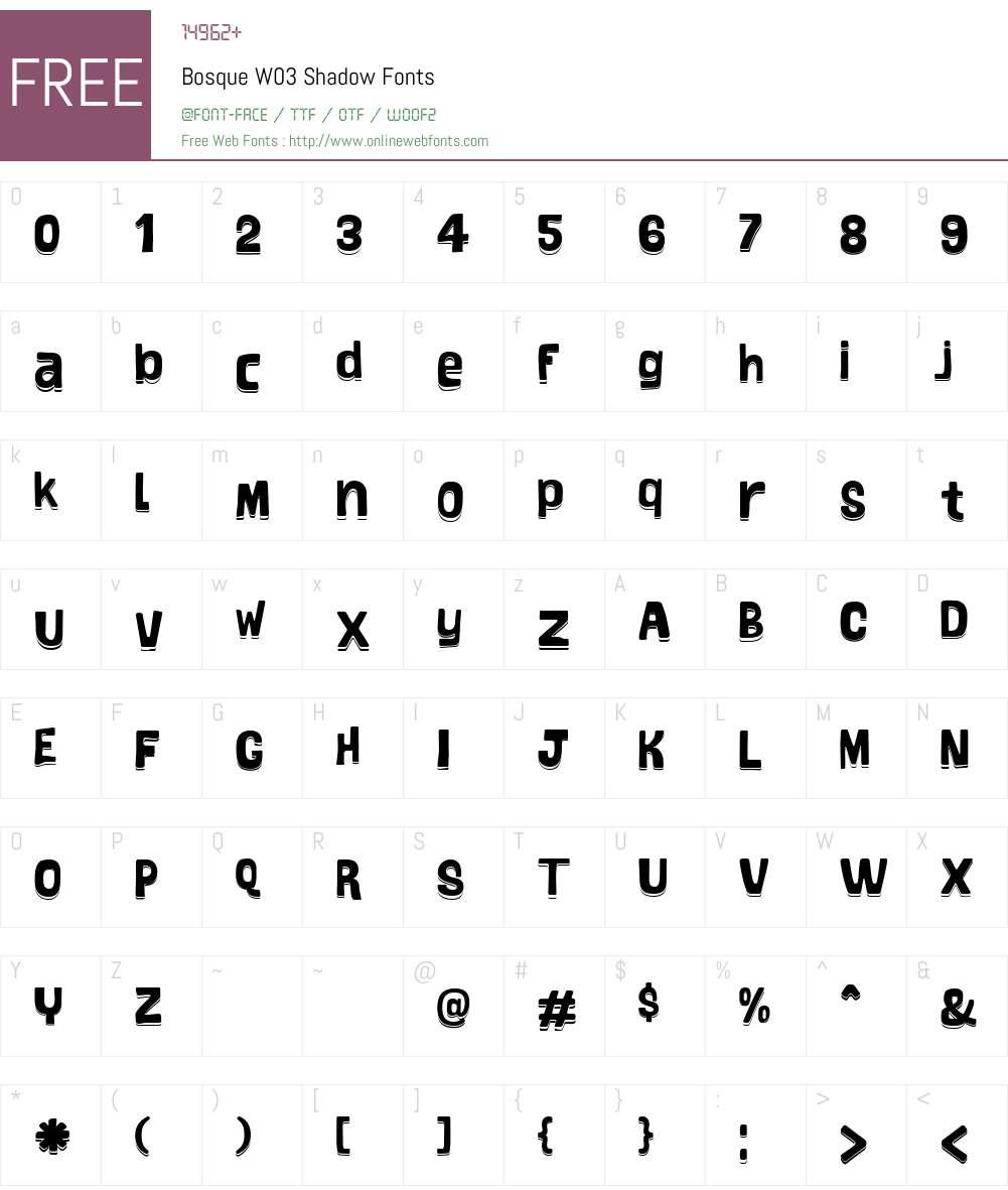 BosqueW03-Shadow Font Screenshots